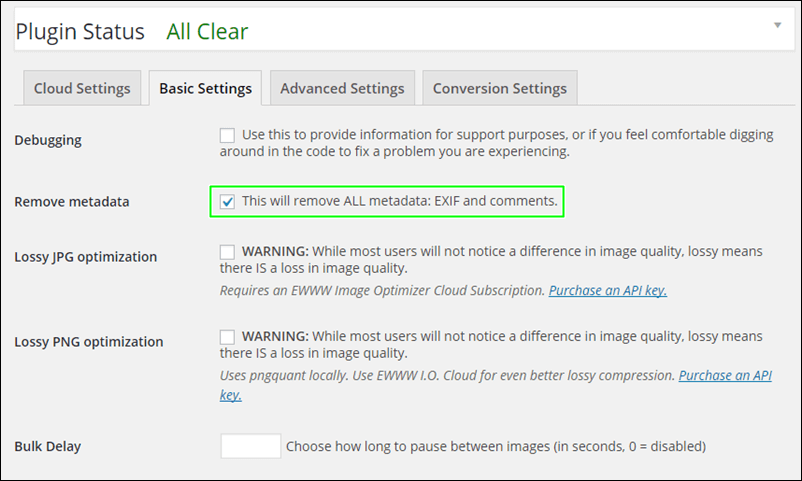 WordPress,設定,EWWW Image Optimizer,Bacic Settings
